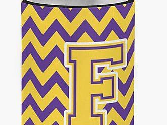 Caroline's Treasures CJ1041-FCC Letter F Chevron Purple and Gold Can or Bottle Hugger, Multicolor