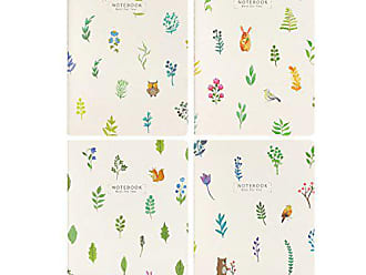 Wrapables Softcover Composition Journals (Set of 4) Notebooks, Leaves/Flowers