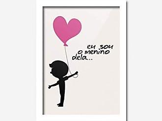 Los Quadros Quadro Decorativo Eu Sou o Menino Dela Coração Rosa 45cmx33cm Los Quadros Branco