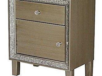 Heather Ann Creations Bon Marche Series 1 Drawer Single Door Small Space Saving Wooden Cabinet with Mirrored Trim, Champagne