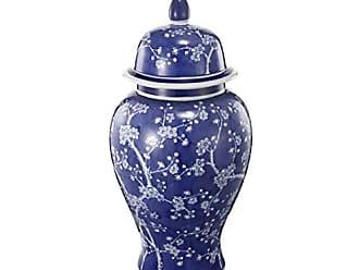 Benzara BM152912 Well-Designed Flowers Ginger Jar, Blue and White
