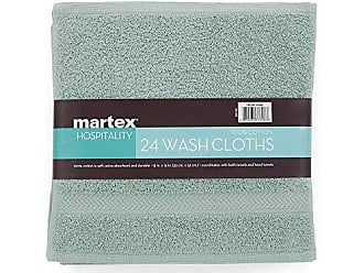 Westpoint Home COMMERCIAL 24 PIECE WASH CLOTH TOWEL SET BY MARTEX - 24 Wash Cloths, Home, Shower, Tub, Gym, Pool - Machine Washable, Absorbent, Professional Grade, Hotel Quality - AQUA