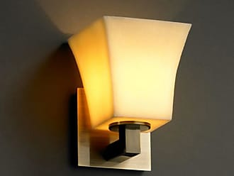 Justice Design CNDL-8921 - Modular 1 Light Wall Sconce - Square Flared Shade - Antique Brass with Amber Shade - CNDL-8921-40-AMBR-ABRS