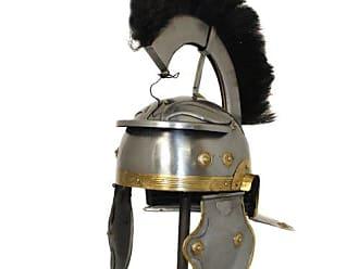 Urban Designs Antique Replica Roman Centurion Black Plume Galea Helmet, Silver/Gold