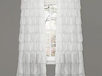 Lush Décor Ruffle Window Curtain Panel, 84 by 50-Inch, White
