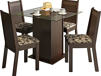 Madesa Sala De Jantar Madesa Base De Madeira Com Tampo De Vidro E 4 Cadeiras Lucy - Tabaco E Bege-Marrom