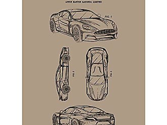 Inked and Screened Automobiles Et Al Aston Martin Lagonda M. Nurnberger 2012 Print, Kraft - Black Ink