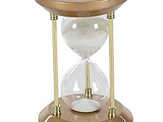 Deco 79 53439 Wood Glass 15-Minute Bronze Hourglass STimer, 7 x 4, White/Clear/Gold
