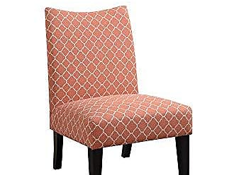 Benzara BM166648 Polyester Accent Chair in Patterned Fabric, Orange