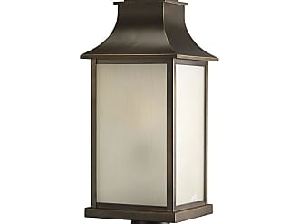 PROGRESS P5453-108 One-light post lantern in Oil Rubbed Bronze finish with light amber glass