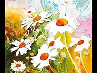 Buyartforless Buyartforless Framed Daisies by Elizabeth Stack 18x24 Art Print Poster Colorful Floral Garden Painting with White Daisies