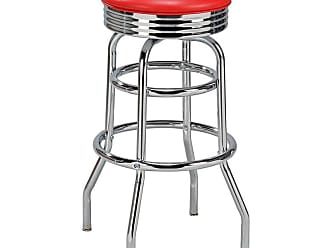Regal Retro Soda Fountain 30 in. Retro Backless Metal Bar Stool Candy Apple Red - 1107-30-T72-CANDYAPPLE