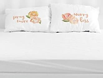 One Bella Casa 22379CSE Pray More Worry Less Pillow Case by OBC, Set of 2,Multicolored