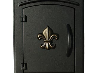 QualArc Manchester Locking Fleur De Lis Column Mounted Mailbox Antique Copper - MAN-S-1402-AC