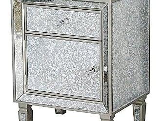 Heather Ann Creations Eleganza Series Formal Mirror Trimmed 1 Drawer 1 Door Cabinet, Champagne
