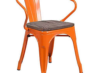 Flash Furniture CH-31270-OR-WD-GG Metal Colorful Restaurant Chairs, 1 Pack, Orange