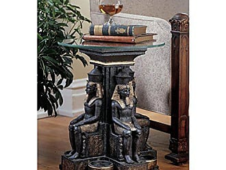Design Toscano Ramses II Egyptian Sculptural Glass-Topped Table - Set of Two