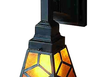 Meyda 27883 Amber Mica Diamond Mission Wall Sconce in Mahogany Bronze finish with Amber Mica