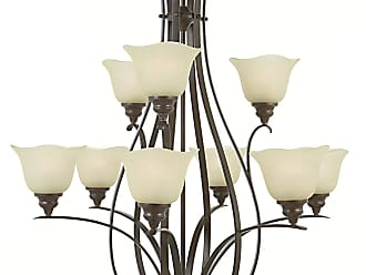 Feiss F2052/6+3GBZ Morningside Chandelier in Grecian Bronze finish with Cream Snow Glass Shade