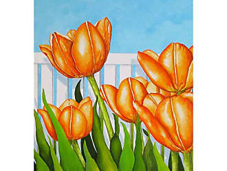 Louis Leonard Art Orange Tulips Garden by Carol Sabo Canvas Wall Art - CAS008-1824