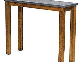 Heather Ann Creations W22366-MON 31.5 Montana Wood Finish with Cement Look Top Handmade Rustic Farm Style Console Table Writing Desk