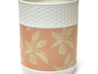 Veratex Pineapple Paradise Collection Contemporary Style Patterned Ceramic Bathroom Waste Basket, Blush