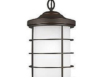 Sea Gull Lighting Sauganash Outdoor Pendant with Etched Seeded Glass