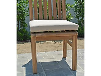 Willow Creek Designs Huntington Teak Armless Outdoor Dining Chair Canvas Heather Beige, Patio Furniture - WC-20-5476
