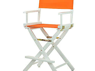 Yu Shan Casual Home 24 Directors Chair White Frame with Tangerine Canvas, Counter Height
