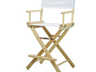 Yu Shan Casual Home 24 Directors Chair Natural Frame with White Canvas, Counter Height