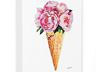 Stupell Industries The Stupell Home Décor Collection Minimal Icecream Cone with Pink Peonies Stretched Canvas Wall Art, 16 x 20, Multi-Color
