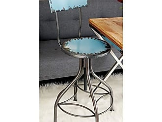 Deco 79 55416 Benzara Old Look Baby Blue Bar Chair with Adjustable Seat, 41 x 18