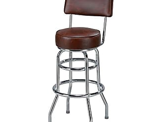 Regal Retro Fountain 30 in. Metal Bar Stool with Fully Upholstered Seat Golden Brown - 2106-30-GOLDENBROWN