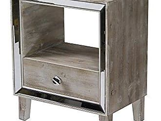 Heather Ann Creations Bon Marche Series 1 Drawer 1 Open Shelf Small Space Saving Wooden End Table with Mirrored Trim, Whitewash