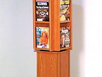 Wooden Mallet LM24-FSMO Divulge Spinning Floor Display with 12 Magazine/24 Brochure Pockets, Medium Oak