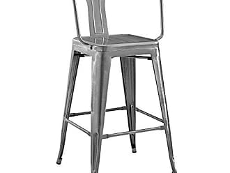 ModWay Modway Promenade Modern Aluminum Bistro Bar Stool With Arms in Gunmetal