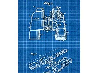 Inked and Screened SP_OUTG_4,848,887_BG_17_W Fixed Focus Binoculars-D. E. Addy-1989 Silk Screen Print, 11 x 17 Blue Grid - White Ink