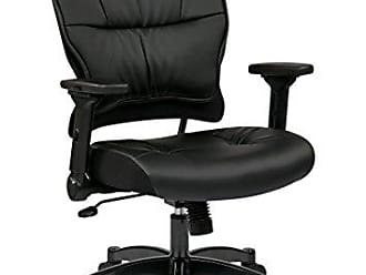 Office Star SPACE Seating Eco Leather Seat and Back, 4-Way Adjustable Flip Arms and Gunmetal Finish Base Managers Chair, Black