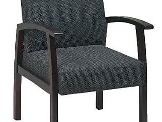 Office Star Deluxe Guest Chair with Mahogany Finish Base and Arms, Charcoal Fabric