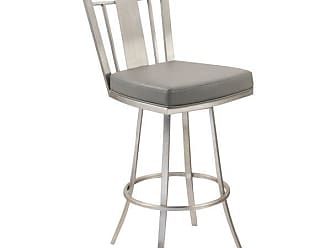 Armen Living Cleo 30 Modern Swivel Bar Stool, Stainless Steel, Gray