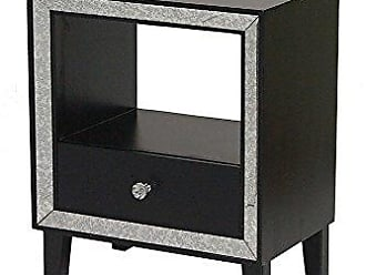 Heather Ann Creations Bon Marche Series 1 Drawer 1 Open Shelf Small Space Saving Wooden End Table with Mirrored Trim, Black