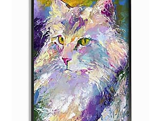 Stupell Industries The Stupell Home Décor Collection Brightly Colored Rainbow Purple Painted Cat Portrait Framed Giclee Texturized Art, 16 x 20, Multi