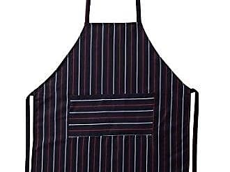 Violet Linen Professional Kitchen Bib Apron Classic Striped - Durable, Comfortable, Easy Care - Navy