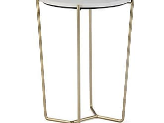 Simpli Home Simpli Home AXCDAN-01 Dani Modern Industrial 16 inch Wide Metal Accent Side Table in White, Gold