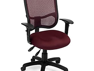 OFM 130-AA3-A03 Mesh-Back Comfort Series Task Chair - Ergonomic Office Chair with Arms, Wine