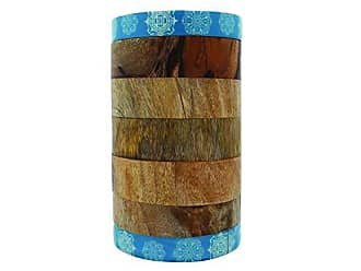 Foreside Home And Garden Mango Wood Canister Blue