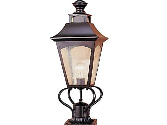 Feiss OL1007ORB Homestead Pier/Post Lantern in Oil Rubbed Bronze finish with Thick Clear Seeded Glass