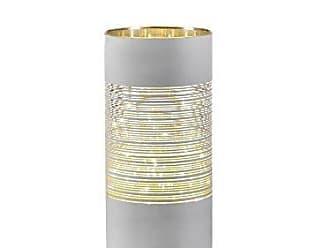 Zodax 10 Tall LED Hurricane Candle Holder, Line Design, White
