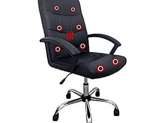 Pelegrin Cadeira Presidente Pelegrin Pel-3928 Dispositivo de Massagem Couro Pu Preta