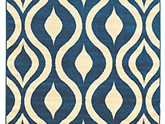 Linon Linon Claremont Collection Drops Off-White Synthetic Rugs, 5 x7, Blue